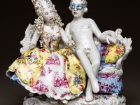 "Chris Antemann, ""Masquerade"" 2014, porcelain, china paint, decals, luster, 10 x 12 x 8""."