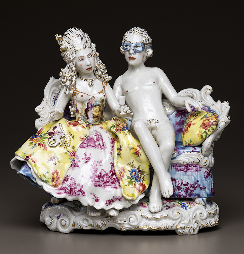 "Chris Antemann, ""Masquerade"" 2014, porcelain, china paint, decals, luster, 10 x 12 x 8""."