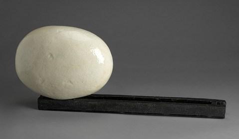 "Jun Kaneko, ""Black and White Construction"" 1991, hand-built, glaze, ceramic, 13.5 x 32 x 8""."