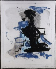 "Peter Voulkos, ""Monoprint"" 1992, handmade paper, ink, paint, 52 x 42"" framed."