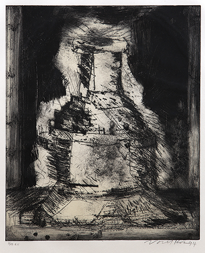 "Peter Voulkos, ""Untitled etching 8/45"" 1994, etching on Arches paper, 27 x 22"" framed."