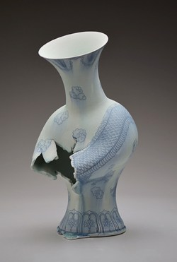"Steven Young Lee, ""Vase with Dragon"" 2017, porcelain, cobalt inlay, glaze, 11 x 11 x 21""."
