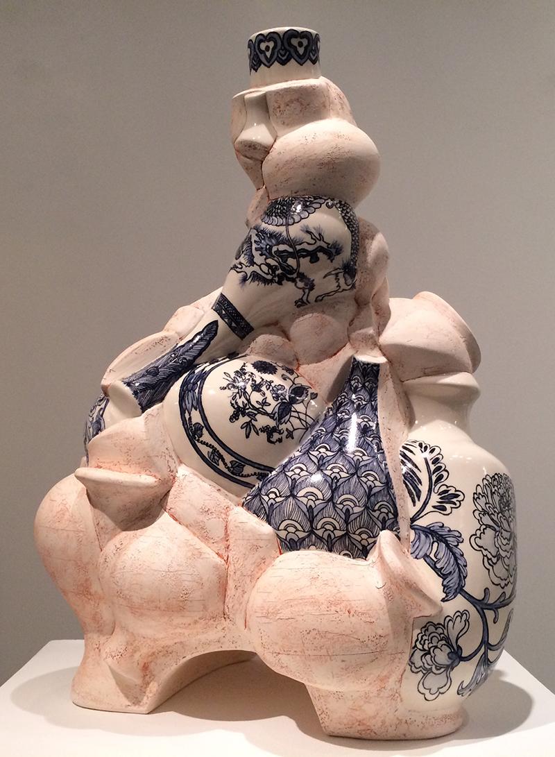 """Sin-ying Ho, """"East Met West"""" 2016, porcelain, cobalt, decal, enamel, 20"""" x 28"""" x 16""""."""