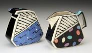 "Dorothy Hafner, ""Sugar, Creamer"" 1988, porcelain, underglaze, 4.75 x 2.75 x 4.75"", 5.75 x 2.5 x 10.5""."