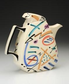 """Dorothy Hafner, """"Teapot"""" 1991, porcelain, underglaze, 12 x 4 x 10.5"""""""