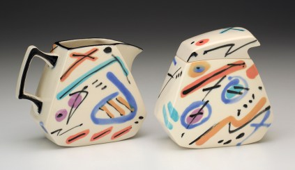 "Dorothy Hafner, ""Sugar, Creamer"" 1991, porcelain, underglaze, 4.75 x 2.75 x 4.75"", 5.75 x 2.5 x 10.5""."