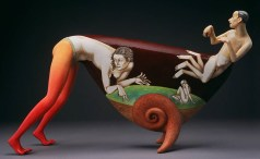 "Sergei Isupov, ""To Live in the Clouds"" 2000, ceramic, 10 x 17 x 5.5""."