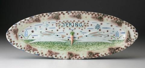 """Mara Superior 'Spring Two Rabbits Relief' 2002, high-fired porcelain, ceramic oxides, underglaze, glaze, 7.5 x 20 x 2""""."""