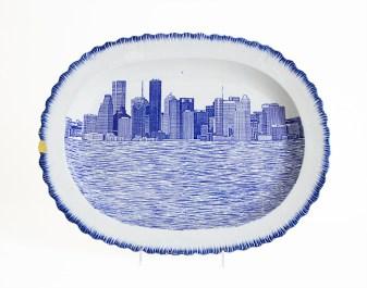 "Paul Scott, ""Scott's Cumbrian Blue(s), New American Scenery, Houston No: 1""; in-glaze decal collage on shell-edge, pearlware platter c.1850."