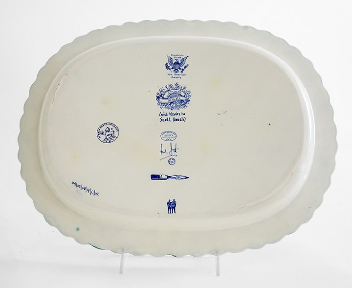 "Scott's Cumbrian Blue(s), New American Scenery, ""Chicago, (W.18th.St.); 04/25/08/19/C02"", Back View, shell-edge, pearlware platter c.1820, 13.5 x 17.25 x 1.5""."