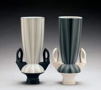 "Peter Pincus, 'Contrasting Gradient Vases' 2018, colored porcelain, 11.5 x 4 x 6"" each"