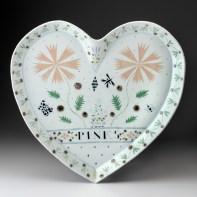 "Mara Superior, ""Largest Heart Platter"", 1989, high-fired porcelain, ceramic oxides, underglaze, glaze, 20 x 19.5 x 1.5"""