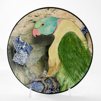 "Stephen Bowers, 'Mr.Lear's Parrot (after Edward Lear)' 2019, white earthenware, under-glaze colors, clear glaze, 8.25 x 8.25 x 1.5""."
