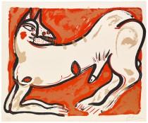 "Akio Takamori, ""Potters and Prints Portfolio (red print)"", 1984, silkscreen print, 37/50, 22 x 27""."