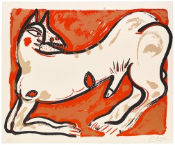 "Akio Takamori, ""Potters and Prints Portfolio (red print)"", 1984, silkscreen print, 37/50, 22 x 27""."