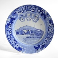 """Paul Scott, """"Scott's Cumbrian Blue(s), New American Scenery, The Angola 3"""" 2019, in-glaze screen print (decal) on salvaged Syracuse China with pearlware glaze, 11x 11 x 1"""""""