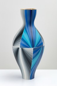 "Peter Pincus, ""Twisting Blue Gradient Vase"" 2019, colored porcelain and gold luster, 22 x 10 x 10""."