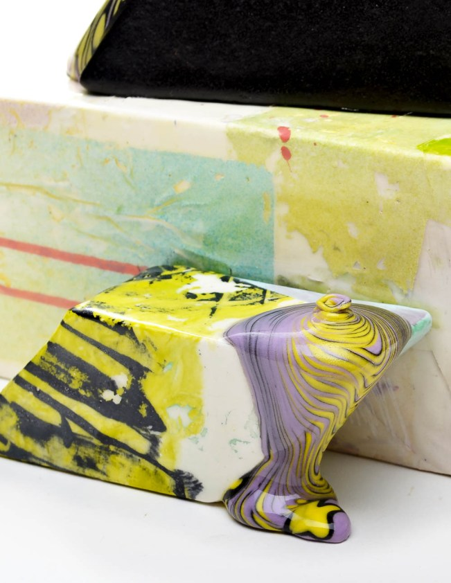 """Lauren Mabry, """"Glaze Flow Blocks 20.02"""", 2020, earthenware, slip, glaze, 11.5 x 9 x 11.75"""""""