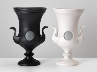 "Peter Pincus, 'Two-Faced Kraters (Pair)', 2020, colored porcelain, 11 x 7 x 4"" (each)."