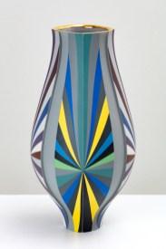 "Peter Pincus, 'Inset Vase', 2020, colored porcelain, 11.5 x 5.5 x 5.5"" (each)."