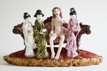 "Chris Antemann, ""Tea"" 2003, porcelain, china paint, decals, 10 x 17 x 5""."