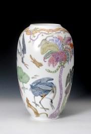 "Robin Best, ""Audobon Vase"" 2017, porcelain, over-glaze painting, 15.75 x 10""."
