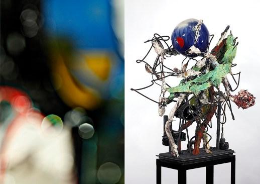 "Raymon Elozua, photo: ""01 Blur S&S 10-6-28_1460"" 2010, archival inkjet print, 17 x 22""; sculpture: ""H: IMF-01"" 2016, terra cotta, white stoneware, glaze, steel rod, steel plate, 23.5 x 17.5 x 20""."