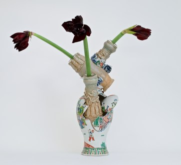 """Bouke de Vries, """"Fragmented Vase 2"""", 2 Chinese Song dynasty vases, 18th and 19th century Chinese porcelain and glass. 22.75 x 9.75 x 7.75"""""""