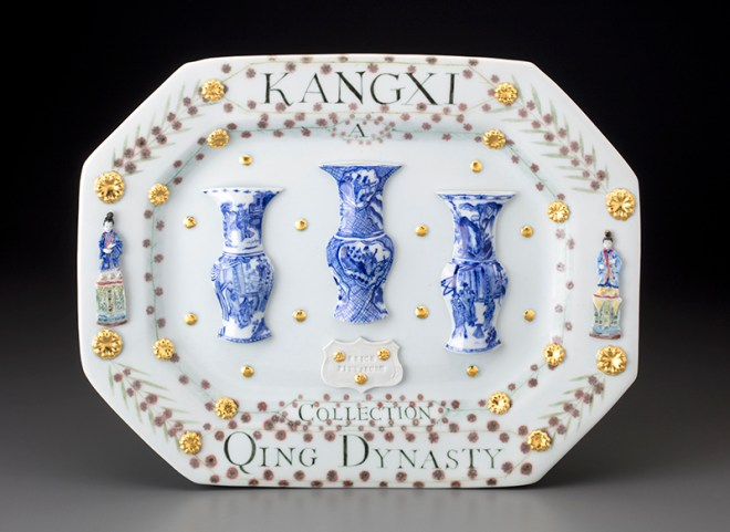 "Mara Superior, ""Kangxi Period, Qing Dynasty/ A Collection"" 2018, porcelain, underglazes, oxides, glaze, gold leaf, 12.5 x 16 x 2.5""."