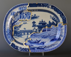 "Paul Scott, ""Scott's Cumbrian Blue(s), Rome/Long Bridge Collage"" 2016, collage, early 19th century Spode transferware platters, gold leaf."