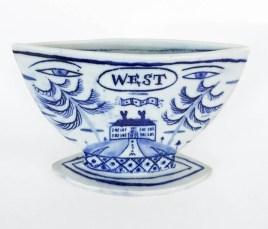 "Mara Superior, ""East/West"" 2018, porcelain, glaze, 4.5 x 7 x 2.5""."