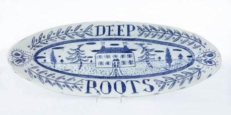 "Mara Superior, ""Deep Roots"" 2018, porcelain, glaze, gold lustre, 7.5 x 20 x .25""."