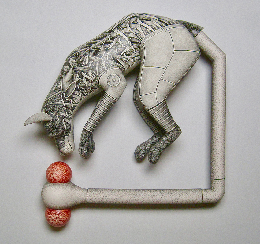 """Jason Walker, """"Chasing Our Tails"""" (wall mounted), 2017, porcelain, china paint, 18 x 18 x 5""""."""