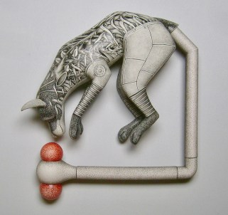 "Jason Walker, ""Chasing Our Tails"" (wall mounted), 2017, porcelain, china paint, 18 x 18 x 5""."