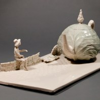 """Coille Hooven, """"Cabbage Road"""", 1979, Kohler vitreous china, 7.625 x 19.25 x 9.5"""""""