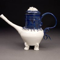 """Coille Hooven, """"Hairy Blue"""", 1975, porcelain, 11 x 8 x 4.75"""""""