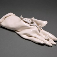 """Coille Hooven, """"Fickle Fate"""", 1987, porcelain, 12 x 3 x 4"""""""