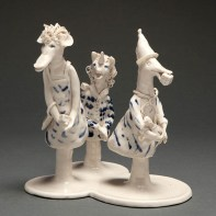"""Coille Hooven, """"The Gamblers"""", 1978, porcelain, 5.25 x 5 x 4"""""""