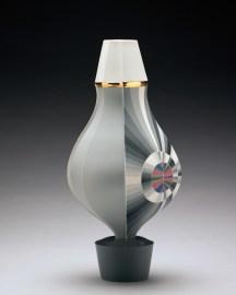 "Peter Pincus, Vase, colored porcelain, 2018, 16 x 7 x 7""."