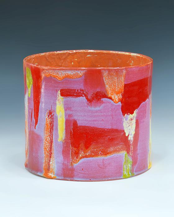 "Lauren Mabry, ""Bali Cylinder #11"" 2017, stoneware, slip, glaze, luster, 10 x 11 x 11""."