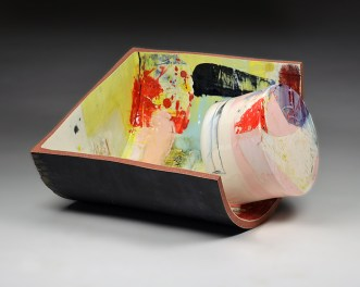 "Lauren Mabry, ""Contain and Deliver (into Black)"" 2015, red earthenware, glaze, 13 x 19 x 17""."