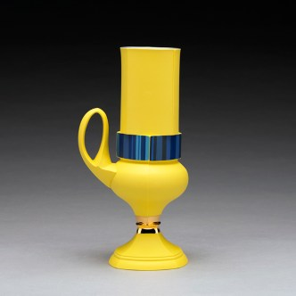 """Peter Pincus, """"Krater Cup"""" 2019, colored porcelain, 9.5 x 5 x 3.5""""."""
