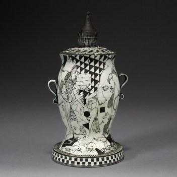 "Edward Eberle, 'December Piece' 2015, porcelain, 9 x 4.5 x 4.5""."