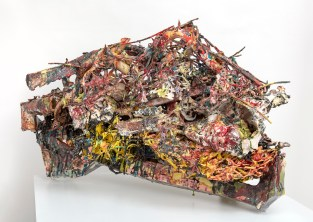 "Linda Sormin, ""Reshaping Rage (when revenge makes perfect sense"", 2019, glazed ceramic, found shards, epoxy, gold leaf, 25 x 42.5 x 18"""