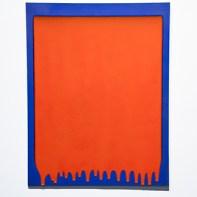 "Robert Silverman, ""Untitled Tile - Orange over blue"", 2013, re-fired commercial porcelain tile, 36 x 28 x 1.5"""