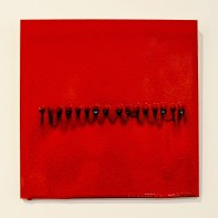 """Bobby Silverman """"Untitled Tile - Red Binary Code"""", 2013, Re-fired commercial tile fabricated in Jingdezhen, China, 12 x 12 x .5"""""""