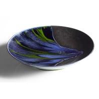 "Bobby Silverman, ""Untitled Bowl (Black & Tie Dye)"", 2021, glazed porcelain, 13 x 13 x 2.5"""