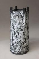 """Edward Eberle, """"Subject-Predicate"""" 2014, porcelain with terra sigilatta, 28 x 13 x 12.5""""."""