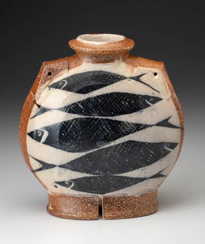 "Michael Simon, ""Flattened Bottle"" 2005, salt glaze, 8 x 7 x 3.75""."