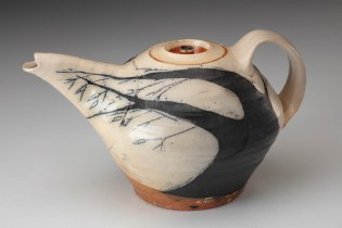 "Michael Simon, ""Teapot"" 2004, salt glaze, 6 x 10 x 7""."